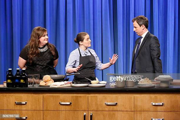 Comedian Aidy Bryant Chef April Bloomfield host Seth Meyers during a cooking segment on February 9 2016