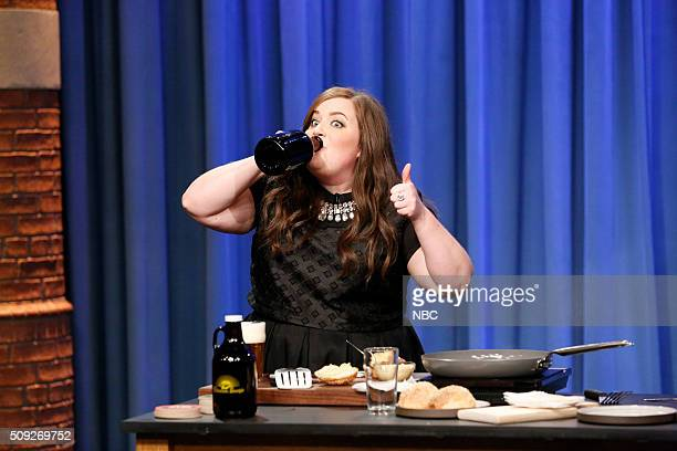 Comedian Aidy Bryant during a cooking segment on February 9 2016