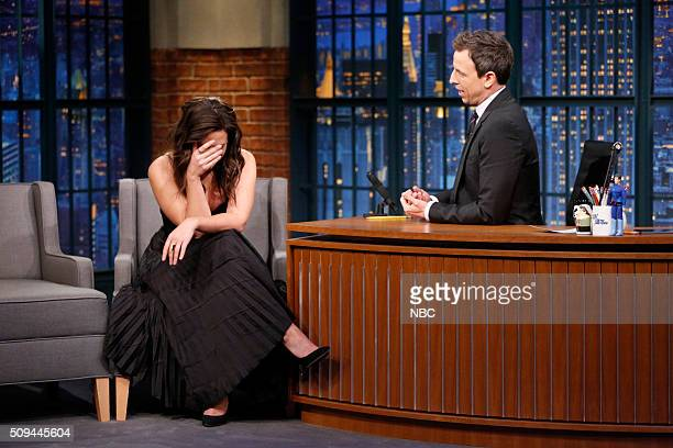 Actress Katie Lowes during an interview with host Seth Meyers on February 10 2016