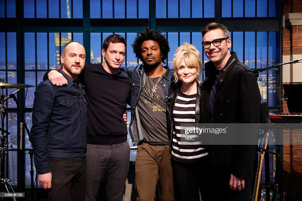 Seth Jabour, Syd Butler, Guest drummer Jaleel Bunton, Marnie Stern, Eli Janney of The 8G Band on February 11, 2016 --