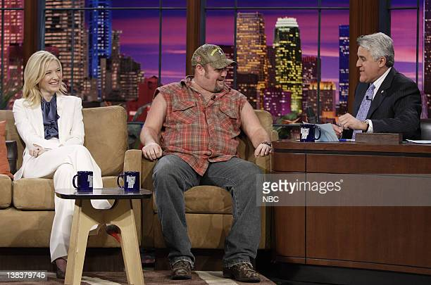 Actress Cate Blanchett and Larry the Cable Guy during an interview with host Jay Leno on December 4 2006