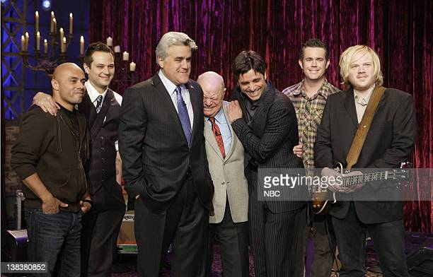 Episode 3292 -- Pictured: Host Jay Leno, comedian Don Rickles and actor John Stamos, flanked by musical guest Rocco DeLuca and the Burden on January...