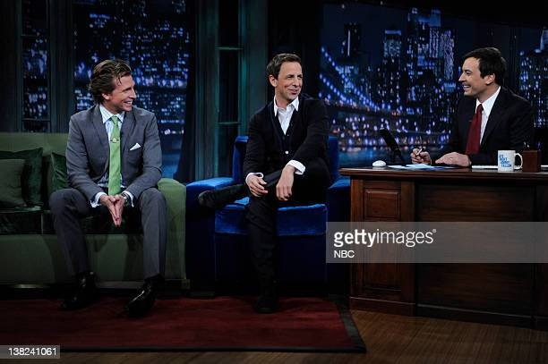 FALLON Episode 33 Airdate Pictured Actor Josh Meyers actor Seth Meyers during an interview with host Jimmy Fallon on April 22 2009