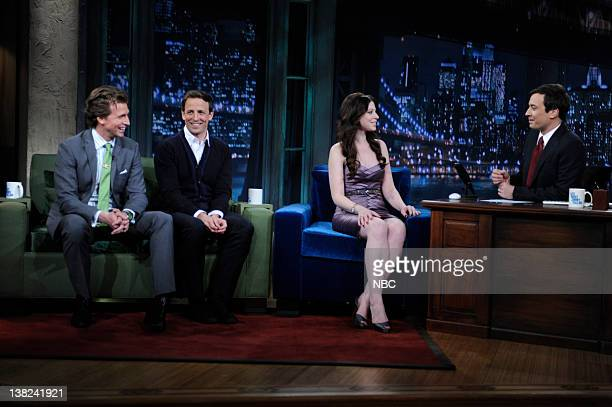 FALLON Episode 33 Airdate Pictured Actor Josh Meyers actor Seth Meyers actress Michelle Trachtenberg during an interview with host Jimmy Fallon on...