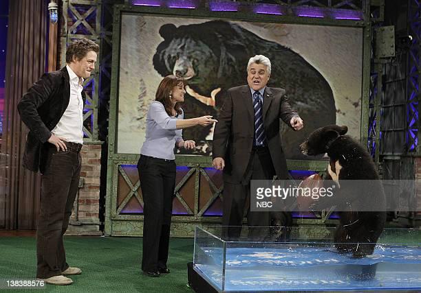 Actor Hugh Grant Julie Scardina and bears with host Jay Leno on February 7 2007