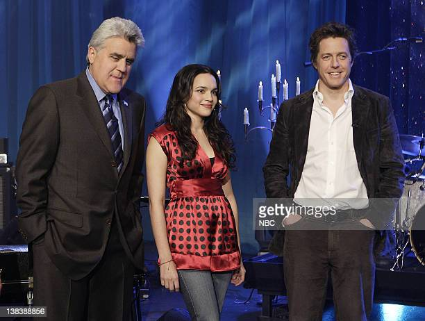 Host Jay Leno musical guest Norah Jones and actor Hugh Grant on February 7 2007