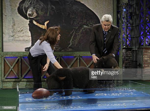 Julie Scardina and bears with host Jay Leno on February 7 2007