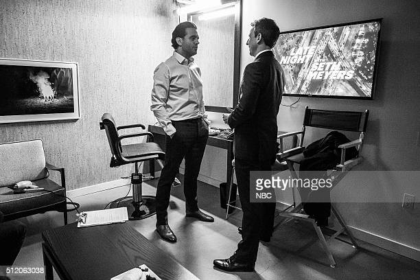 MEYERS Episode 332 Pictured Actor Bobby Cannavale talks with host Seth Meyers backstage on February 23 2016