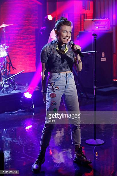 Amanda Duffy of musical guest Misterwives performs on February 25 2016