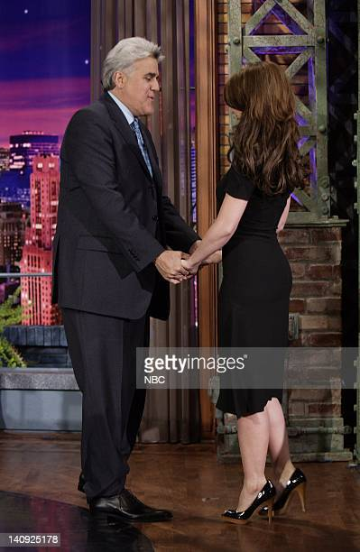 Host Jay Leno greets actress Jennifer Love Hewitt on April 4 2007 Photo by Paul Drinkwater/NBCU Photo Bank