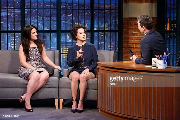 Actress'es Abbi Jacobson and Ilana Glazer during an interview with host Seth Meyers on March 2 2016
