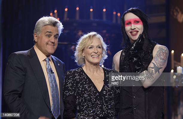 Host Jay Leno actress Glenn Close and musical guest Marilyn Manson on July 20 2007 Photo by Paul Drinkwater/NBCU Photo Bank