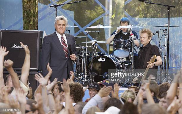 Episode 3409 -- Pictured: Host Jay Leno and musical guest Sum 41 as part of the Toyota Concert Series on July 24, 2007 -- Photo by: Paul...