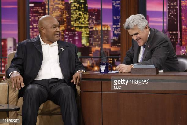Episode 3410 -- Pictured: Boxer George Forman during an interview with host Jay Leno on July 25, 2007 -- Photo by: Paul Drinkwater/NBCU Photo Bank