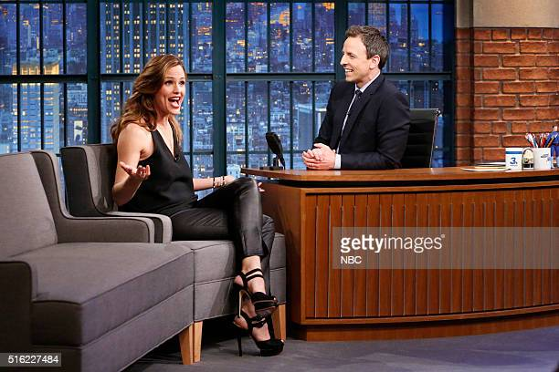 Actress Jennifer Garner during an interview with host Seth Meyers on March 17 2016