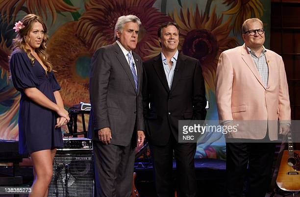 Musical guest Colbie Caillat host Jay Leno film critic Richard Roper and actor/game show host Drew Carey on August 27 2007