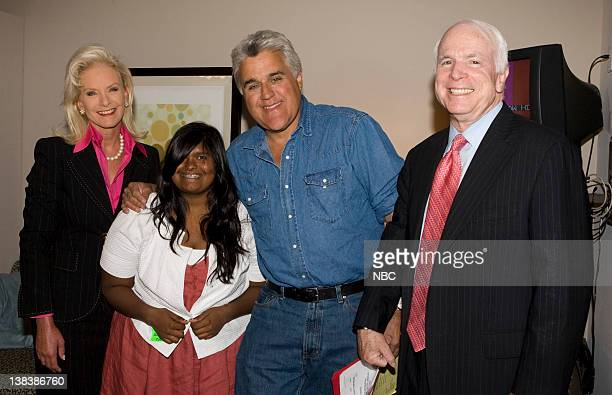 Presidential candidate Senator John McCain with wife Cindy McCain daughter Bridget McCain and host Jay Leno backstage prior to his appearance on The...