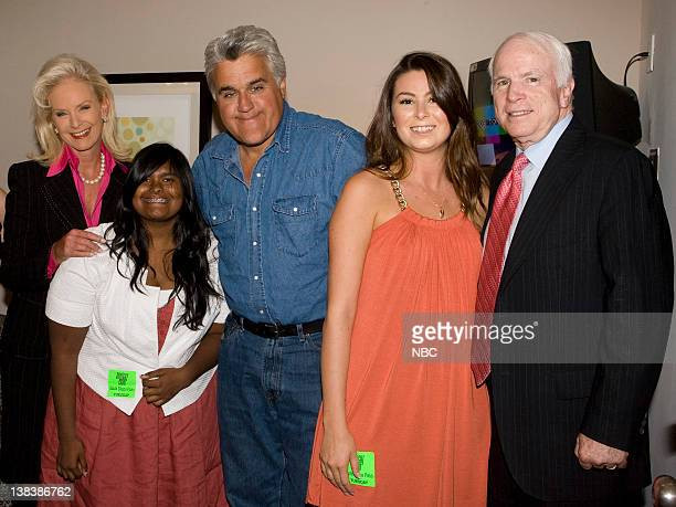 Presidential candidate Senator John McCain with wife Cindy McCain daughter Bridget McCain host Jay Leno and future daughterinlaw Tess Webster...