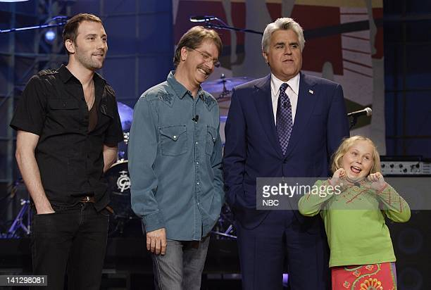 Musical guest Mat Kearney actor Jeff Foxworthy host Jay Leno and actress Maria Lark on August 29 2007 Photo by Paul Drinkwater/NBCU Photo Bank