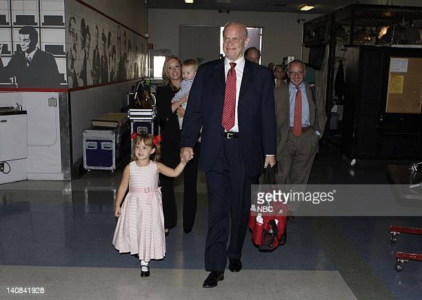 Actor Presidential candidate and former Senator Fred Thompson arrives with his two children and wife Jeri Kehn Thompson for his appearance on The...
