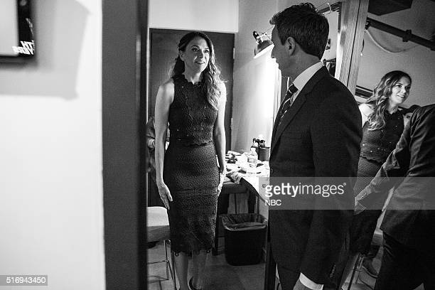 MEYERS Episode 343 Pictured Actress Sutton Foster talks with host Seth Meyers backstage on March 21 2016
