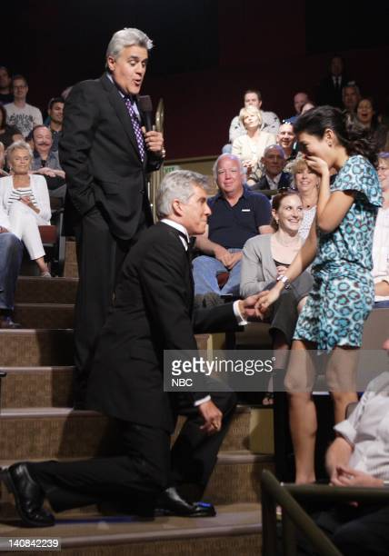 Episode 3435 -- Pictured: Host Jay Leno stands by as ring announcer Michael Buffer proposes to his fiance Christine Prado in the audience on...
