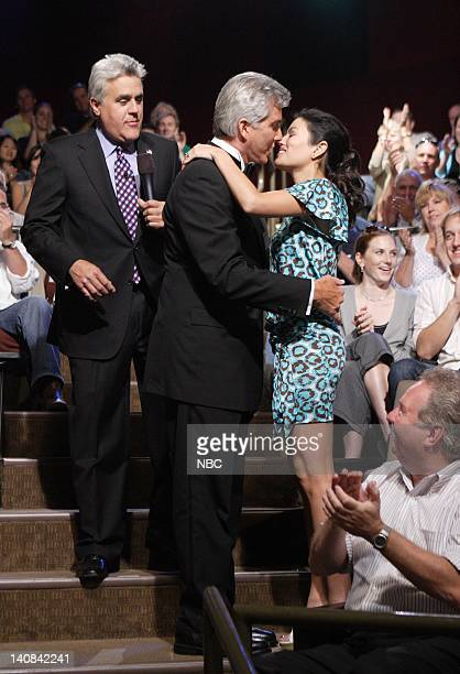 Host Jay Leno stands by as ring announcer Michael Buffer proposes to his fiance Christine Prado in the audience on September 13 2007 Photo by Paul...