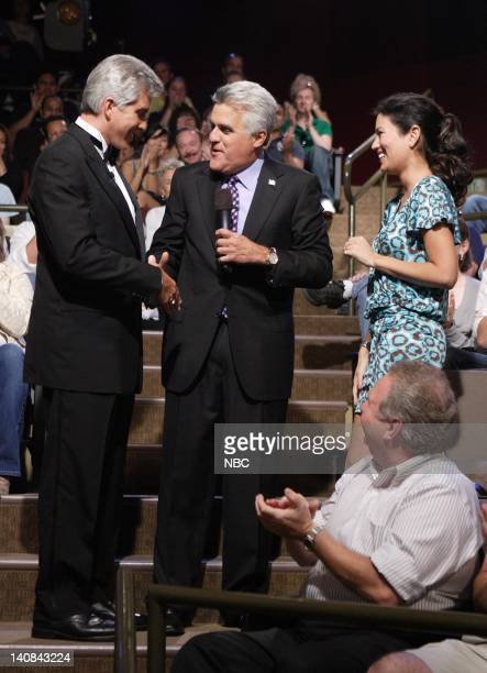 Ring announcer Michael Buffer and host Jay Leno after Buffer proposed to his fiance Christine Prado in the audience on September 13 2007 Photo by...