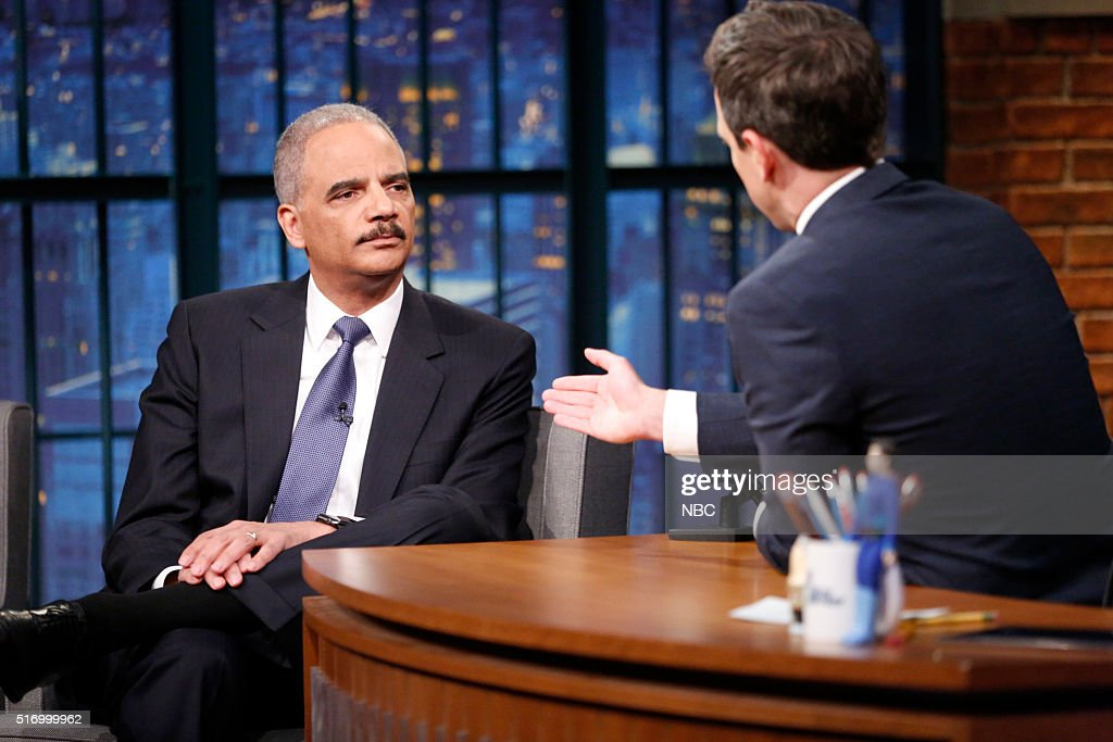 """NBC's """"Late Night With Seth Meyers"""" With Guests Henry Cavill, Nia Vardalos, Attorney General Eric Holder"""