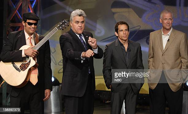 Episode 3445 -- Pictured: Musical guest Raul Midon, host Jay Leno, actor Ben Stiller and former White House Press Secretary Tony Snow on September...