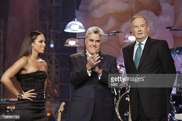 Episode 3456 -- Pictured: Musical guest Alicia Keys, host Jay Leno, political commentator Bill O'Reilly on October 12, 2007
