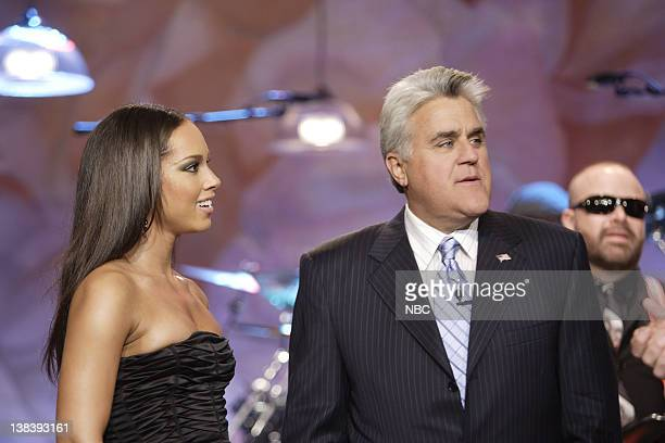 Musical guest Alicia Keys with host Jay Leno on October 12 2007