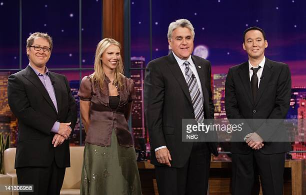 Actor James Spader CBS News' Lara Logan host Jay Leno and comedian Steve Byrne on October 15 2007 Photo by Margaret Norton/NBCU Photo Bank