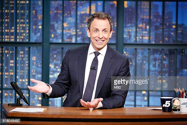 Host Seth Meyers at his desk on March 29 2016