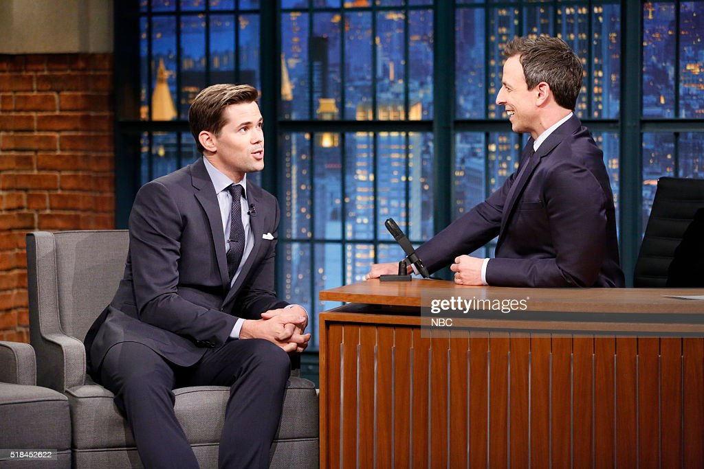 Actor Andrew Rannells during an interview with host Seth Meyers on March 31, 2016 --