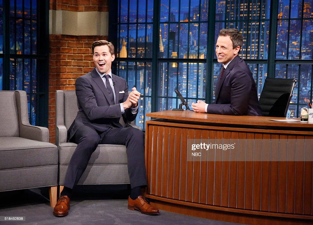"NBC's ""Late Night With Seth Meyers"" With Guests Pharrell Williams, Andrew Rannells, Corbin Maxey"