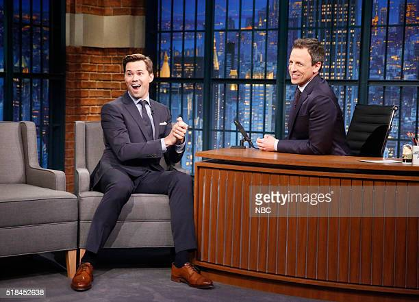 Actor Andrew Rannells during an interview with host Seth Meyers on March 31 2016