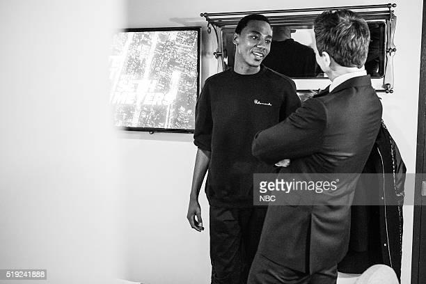 MEYERS Episode 350 Pictured Actor/comedian Jerrod Carmichael talks with hsot Seth Meyers backstage on April 4 2016