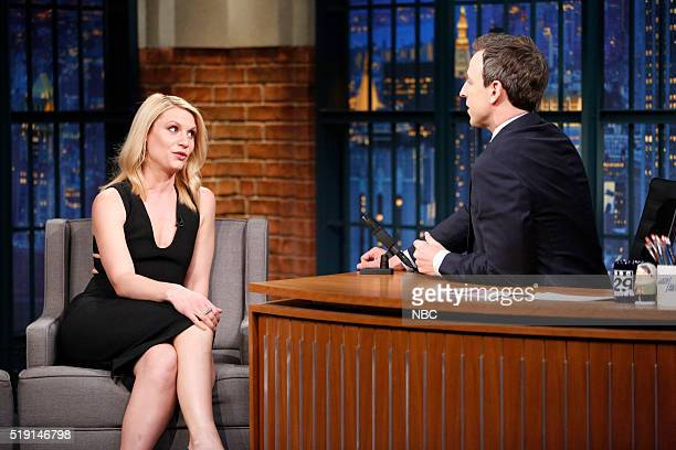 Actress Claire Danes during an interview with host Seth Meyers on April 4 2016