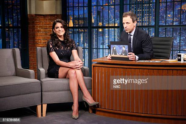 Actress Cecily Strong during an interview with host Seth Meyers on April 4 2016