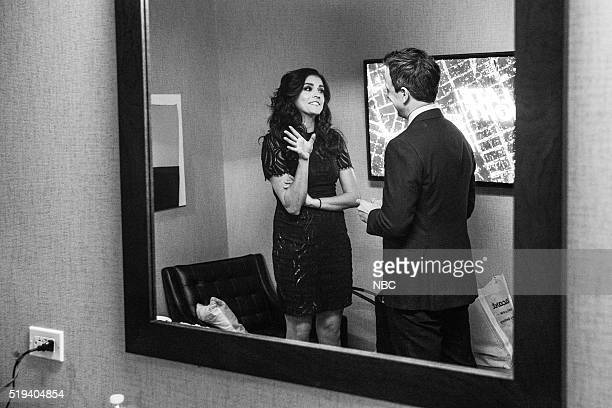 MEYERS Episode 351 Pictured Actress Cecily Strong talks with host Seth Meyers backstage on April 4 2016