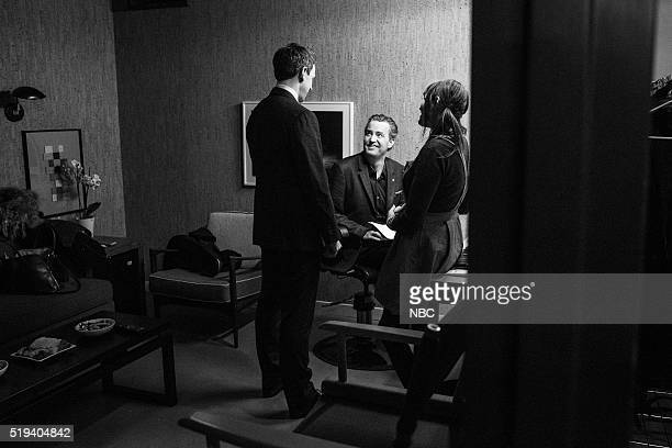 MEYERS Episode 351 Pictured Host Seth Meyers talks with actor Matthew Perry backstage on April 4 2016