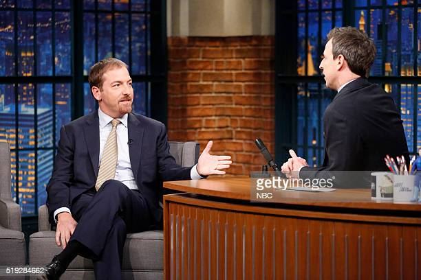 Meet the Press moderator Chuck Todd during an interview with host Seth Meyers on April 4 2016
