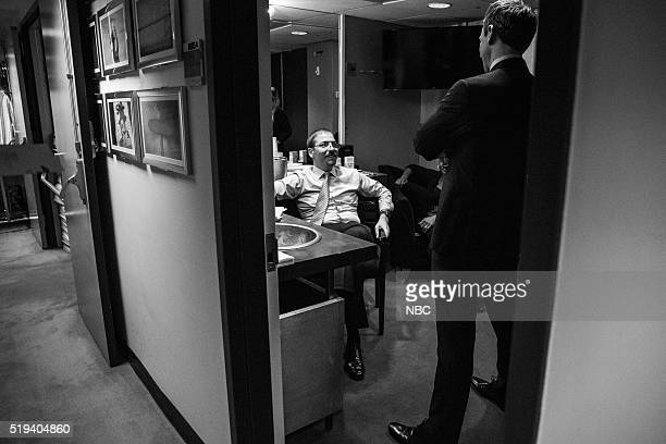 MEYERS Episode 351 Pictured Meet the Press moderator Chuck Todd talks with host Seth Meyers backstage on April 4 2016