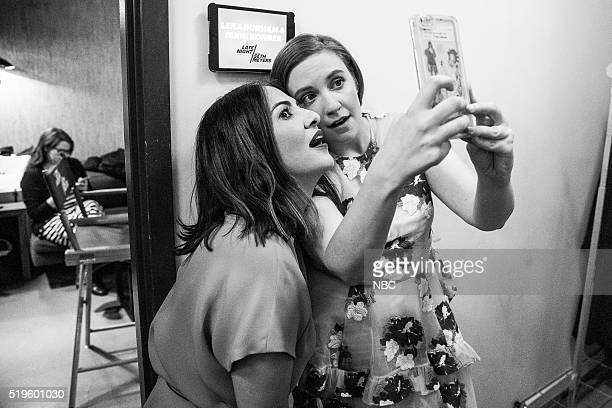 MEYERS Episode 352 Pictured Producer Jenni Konner and actress Lena Dunham take a selfie backstage on April 6 2016