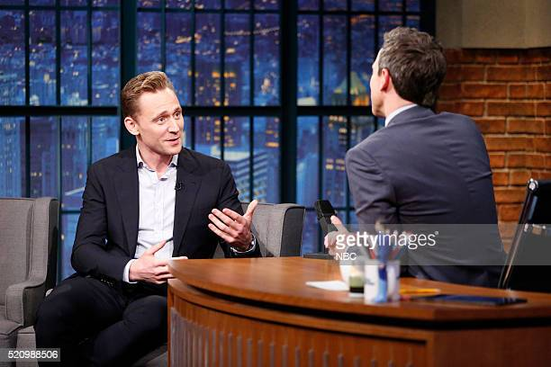 Actor Tom Hiddleston during an interview with host Seth Meyers on April 13 2016