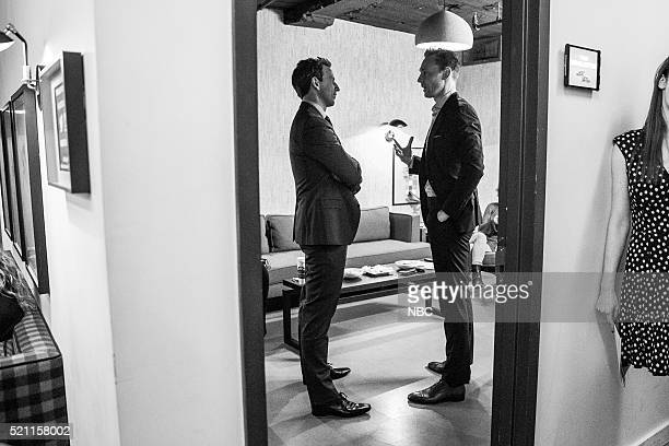 MEYERS Episode 356 Pictured Host Seth Meyers talks with actor Tom Hiddleston backstage on April 13 2016
