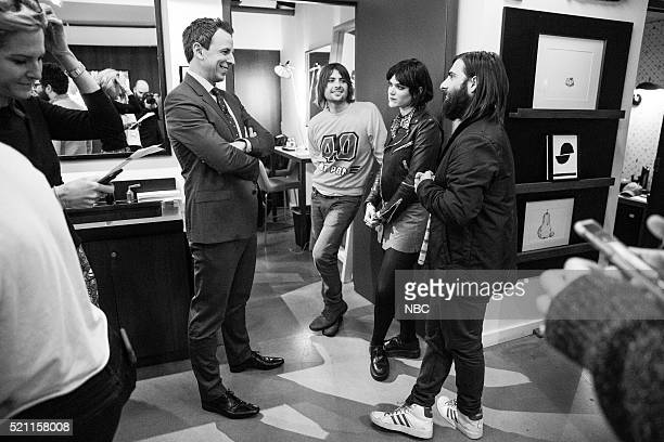 MEYERS Episode 356 Pictured Host Seth Meyers talks with Robert Schwartzman Soko and Jason Schwartzman of musical guest Rooney backstage on April 13...