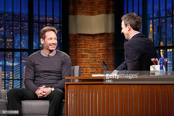 Actor David Duchovny during an interview with host Seth Meyers on April 14 2016
