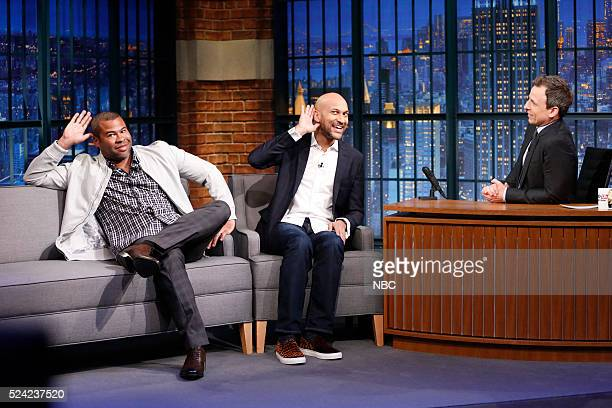 Comedians Jordan Peele and KeeganMichael Key during an interview with host Seth Meyers on April 25 2016